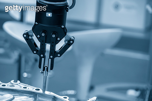 The robotic arm use in  assembly production line .