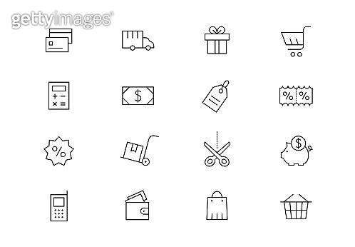 Shopping editable stroke icons