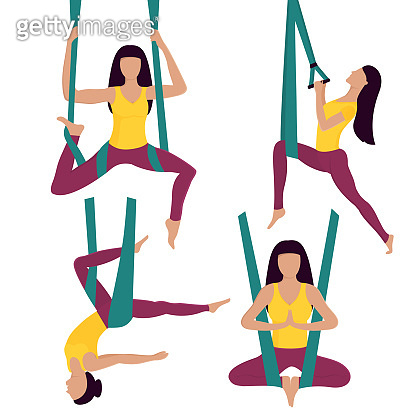 Fly Yoga. Woman performs asana in hammock