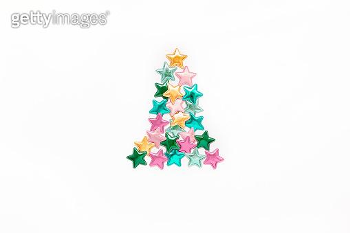 Color stars Christmas tree concept