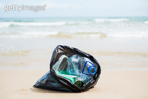 garbage bag on the beach