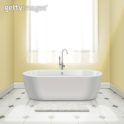 Modern white bathtub in interior. Vector illustration 3d-render of bath with yellow walls, tiled floor with a rug and window