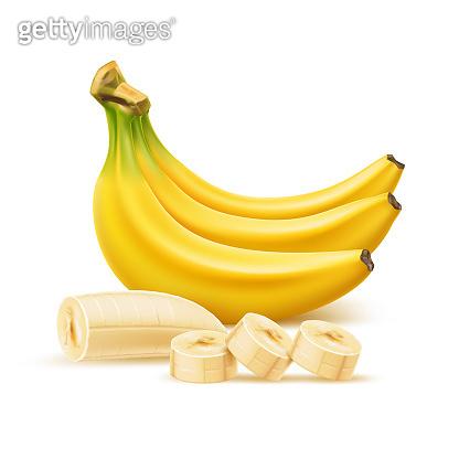 Vector ripe banana bunch, realistic fresh fruit