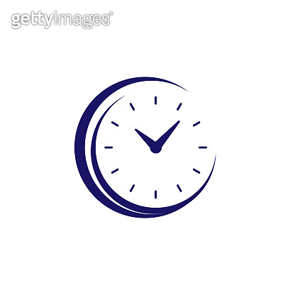 Clock icon vector. Flat design element watch isolated on white background