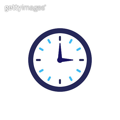 Clock icon vector. Flat design element watch isolated on white background.