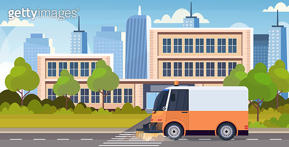 street sweeper truck machine cleaning process industrial vehicle urban road service concept modern cityscape background horizontal flat