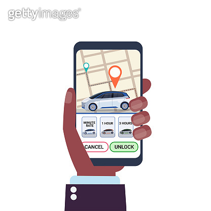 human hand using online ordering taxi car sharing mobile application concept smartphone screen with gps map transportation carsharing service carpooling app
