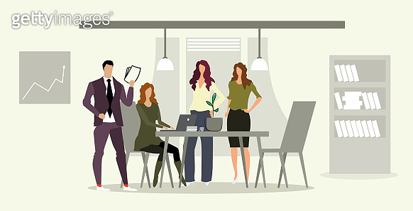 businesspeople team with female boss at workplace business people brainstorming discussing new project during meeting conference modern office interior sketch full length horizontal