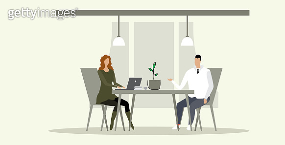 businesspeople man woman sitting at workplace desk business people couple working together brainstorming meeting interview concept successful teamwork sketch doodle horizontal