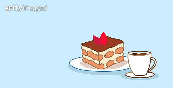cake piece sweet bakery chocolate dessert with coffee cup food concept sketch doodle horizontal