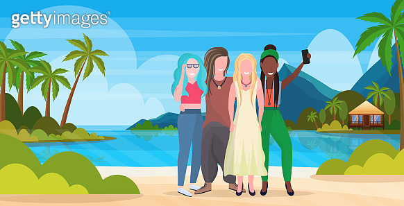 women group on beach taking selfie photo on smartphone camera summer vacation concept mix race friends standing together tropical island seaside background full length horizontal