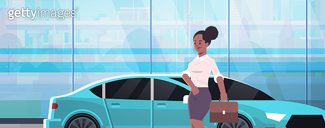 businesswoman standing near luxury car african american woman in formal wear holding suitcase going to work business concept flat closeup portrait horizontal