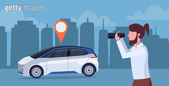 casual man looking through binoculars searching automobile with location pin rent car sharing concept transportation carsharing service night cityscape background horizontal portrait