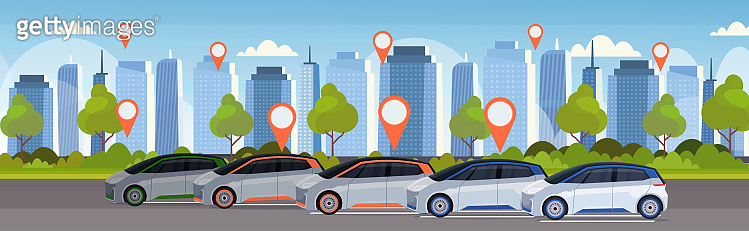 cars with location pin on parking online ordering taxi car sharing concept mobile transportation carsharing service modern city street cityscape background flat horizontal