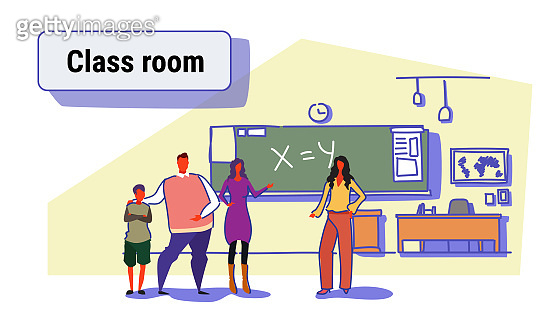 young parent with son at school teacher-parent meeting concept modern classroom interior cartoon characters full length colorful sketch doodle horizontal