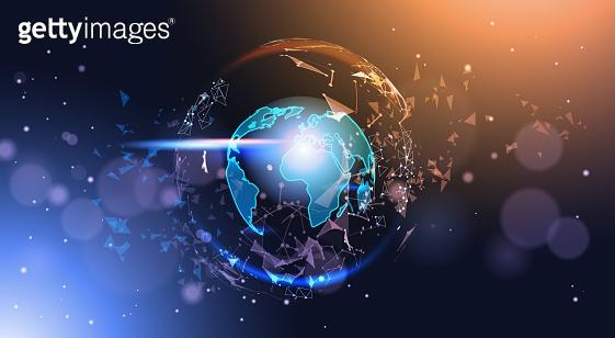 Polygonal Earth Globe On Bokeh Background Low Poly Geometrical World Map Glowing