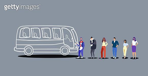 group of people tourists standing line queue to boarding tour bus men women passengers waiting at city public transport station sketch doodle horizontal