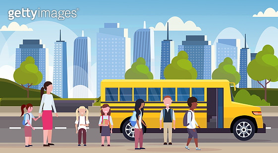 group of mix race children walking in yellow bus pupils transport concept cityscape background flat horizontal full length