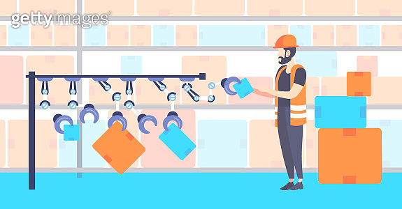 warehouse worker in uniform arranging cardboard boxes with robot arms automated robotic production line modern storage interior horizontal full length flat