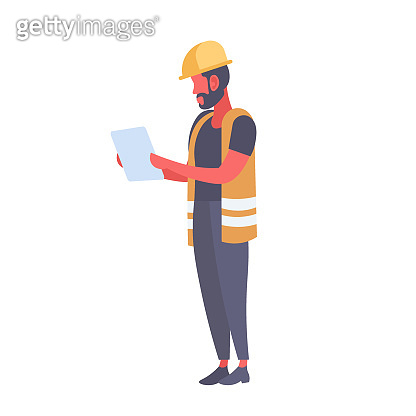 man construction engineer holding paper plan male technician builder wearing protective vest and helmet cartoon character full length flat isolated