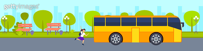 teenager girl running to catch school bus hurry up late concept female student waving hand gesture city urban park landscape background horizontal banner vector illustration