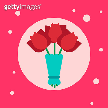 Bouquet Of Tulips Flowers Icon On Pink Background
