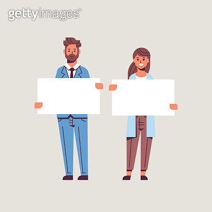 businesspeople man woman holding empty blank signboard business partners couple showing blank white cardboard advertisement concept flat full length