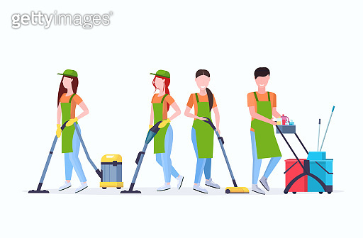 janitors team cleaning service concept male female cleaners in uniform working together with professional equipment flat full length horizontal