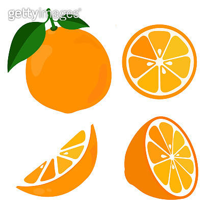 Bright vector set of colorful half, slice and segment of juicy orange.
