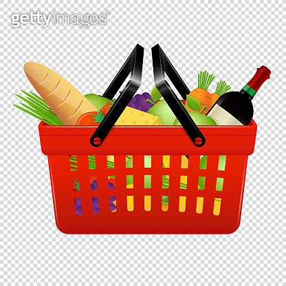 Shopping basket with groceries isolated on transparent background