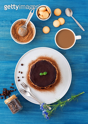 Homemade tiramisu with coffee