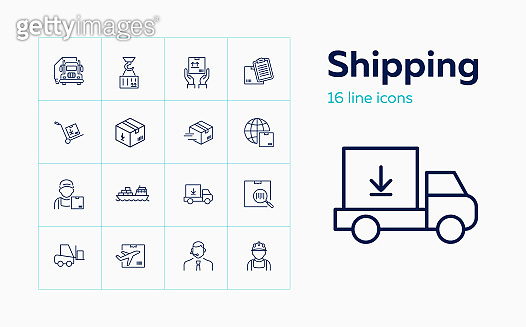 Shipping line icon set. Courier, operator