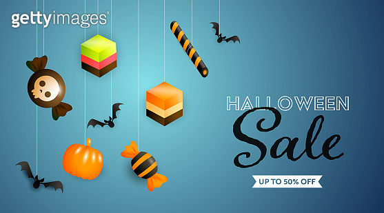Halloween Sale lettering with sweets and candies