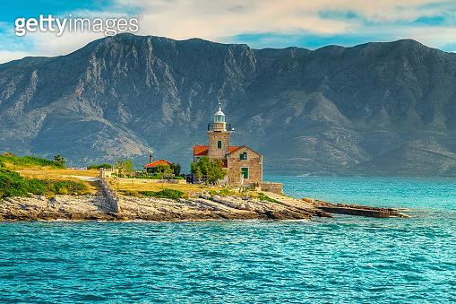 Spectacular lighthouse on the rocky seashore, Sucuraj, Hvar island, Croatia