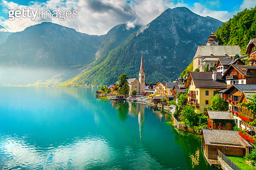 Fantastic view with Hallstattersee lake and wooden houses, Hallstatt, Austria