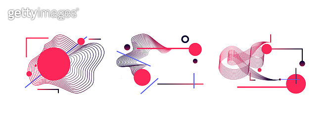 Abstract geometric shapes set. Wavy and straight lines
