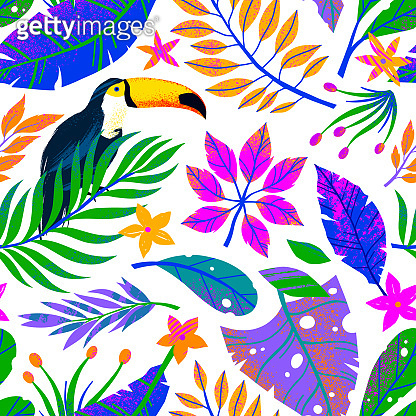 Summer vector seamless pattern with hand drawn tropical leaves