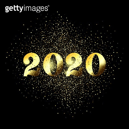 Happy New Year 2020 greeting card of glitter gold Christmas confetti on premium black background