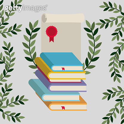 graduation card with books and diploma