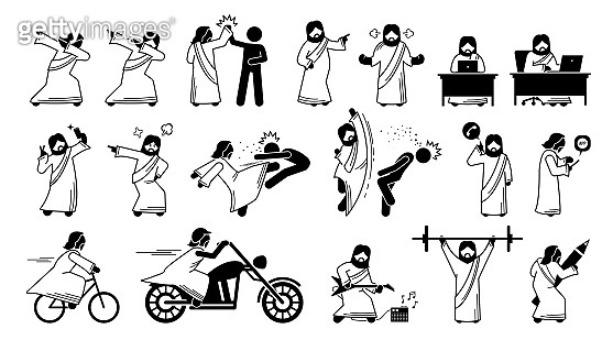 Funny Jesus Christ illustrations, stick figure, and icons.