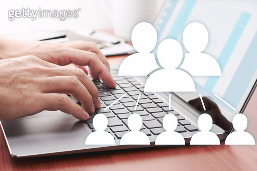 Using internet for business communication. Online people network.