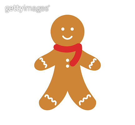 Cute gingerbread man in scarf icon.