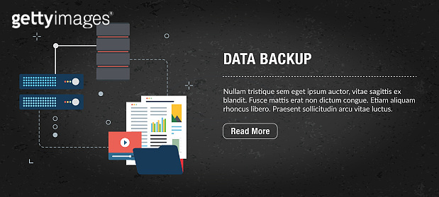 Data backup web banner internet with icons in vector.