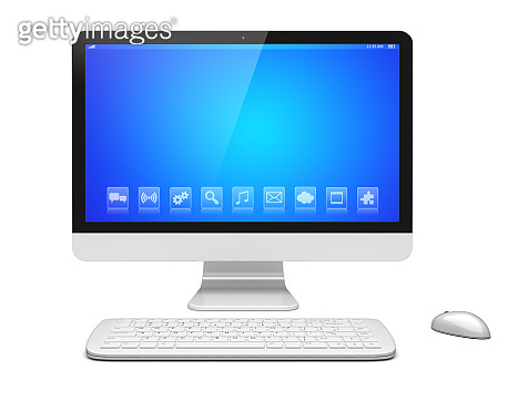 Desktop pc on a white