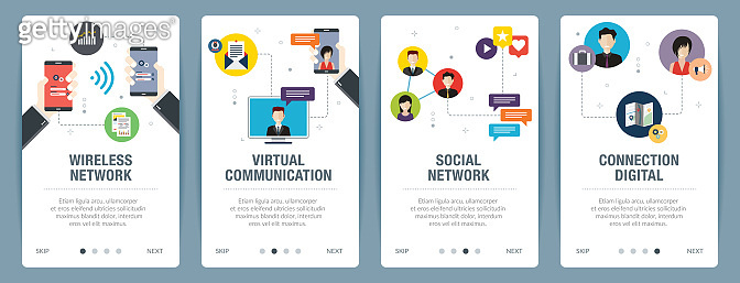 Wireless network, virtual communication, social network and connection digital.