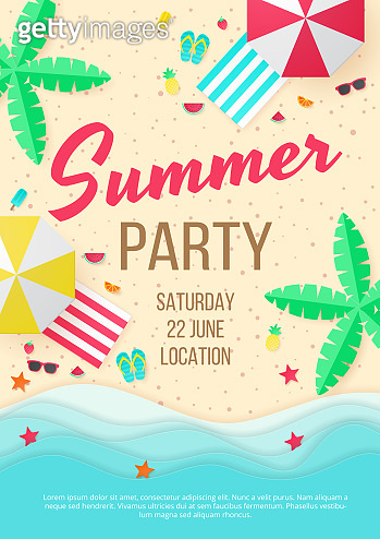 Summer beach party vector background. Paper cut. Can used for banners,Wallpaper,flyers, invitation, posters, brochure.