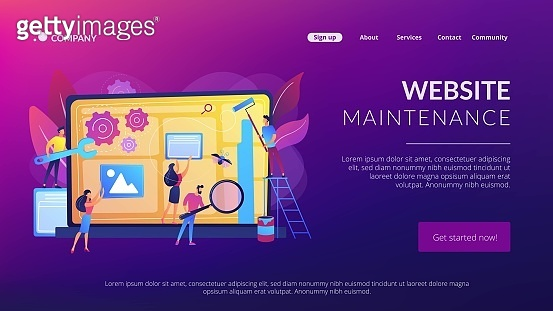 Website maintenance concept landing page