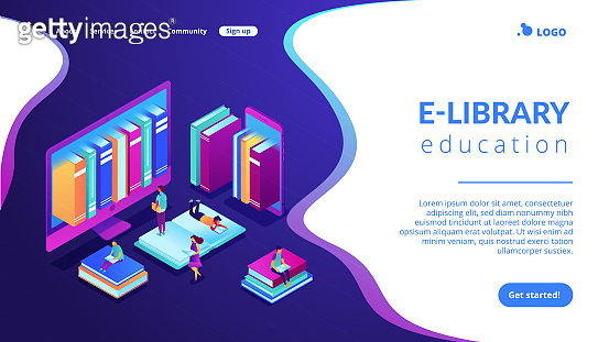 E-library isometric 3D landing page.