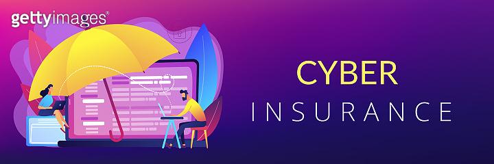 Cyber insurance concept banner header.