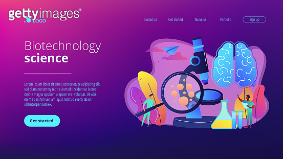 Microbiological technology concept landing page.